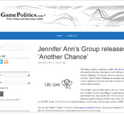 Article on Jennifer Ann's Group release of a new video game to prevent dating abuse posted on Game Politics.
